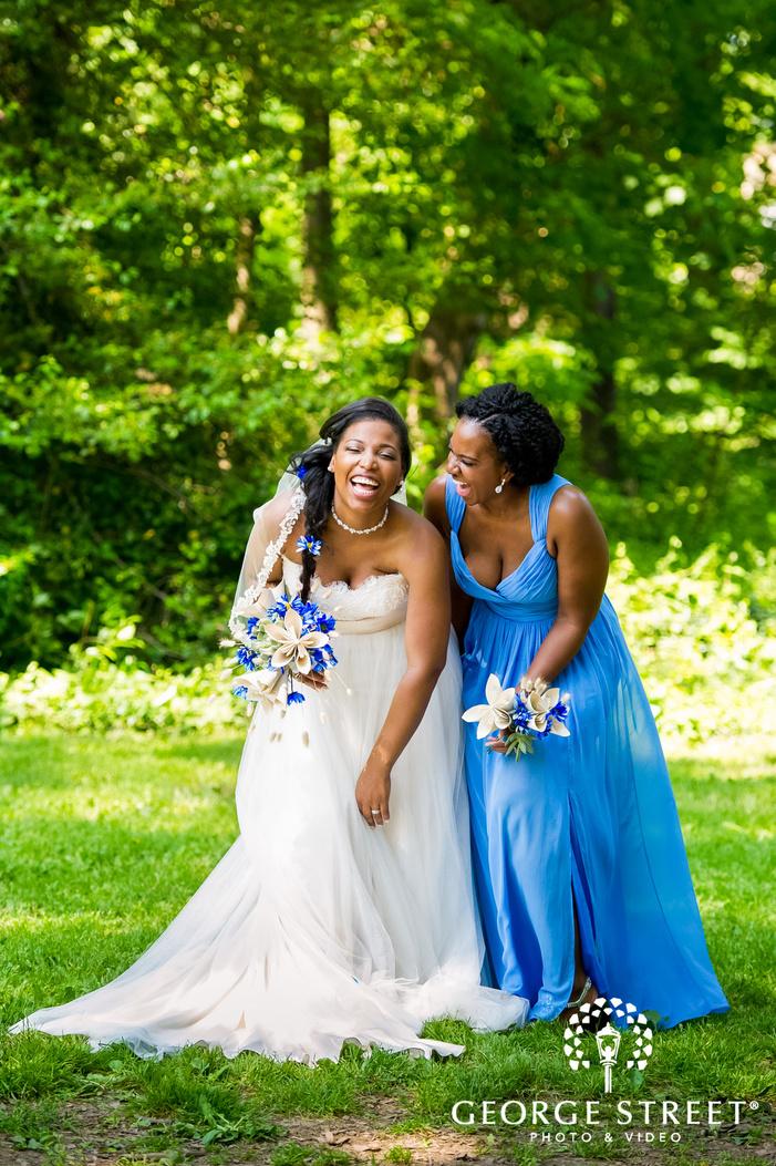 mismatched blue spring wedding photos awbury arboretum philadelphia